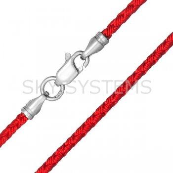 Шелковый шнурок Милан 2016 с серебром | Цвет: Красный (2,5 мм)