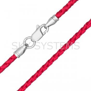 Шелковый шнурок Милан 2016 с серебром | Цвет: Малиновый (3,0 мм)