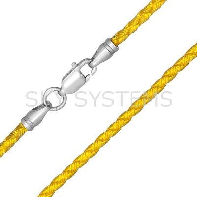 Шелковый шнурок Милан 2016 с серебром   Желтый (3,0 мм)