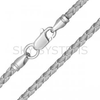 Шелковый шнурок Милан 2016 с серебром | Цвет: Серебряный (3,0 мм)