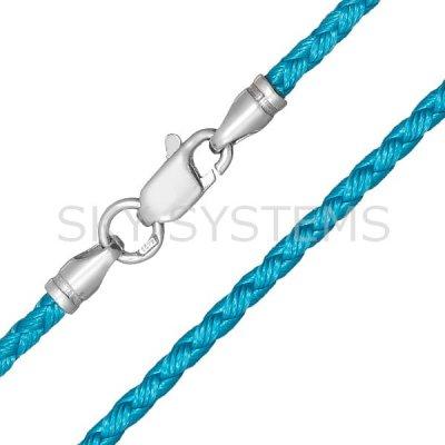 Шелковый шнурок Милан 2016 с серебром   Бирюза (2,5 мм)