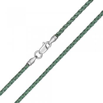 Шелковый шнурок Милан 2016 с серебром   Цвет: Зеленый (2,5 мм)