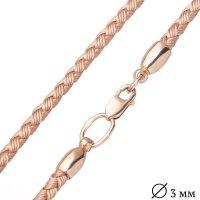 Кожаный золотой шнурок с золотой гладкой застежкой (3мм)