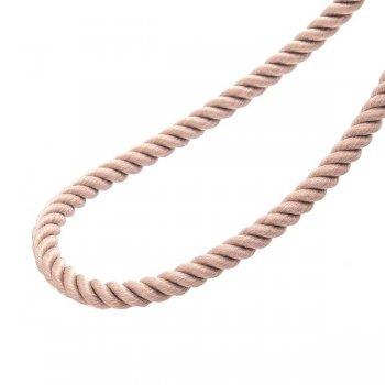Шелковый бежевый шнурок с серебряной застежкой (3мм)
