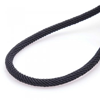 """Шелковый шнурок """"Спаси и сохрани"""" с серебряной застежкой (4мм)"""