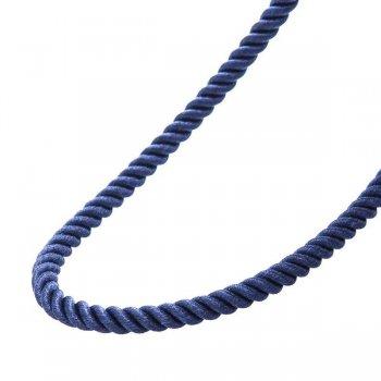 """Шелковый синий шнурок """"Спаси и сохрани"""" с серебряной застежкой (3мм)"""