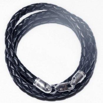 Колье из плетеной кожи | 5.0 мм, Цвет: Черный