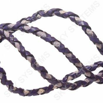 Синий кожаный плетеный шнур с хлопком 5 мм