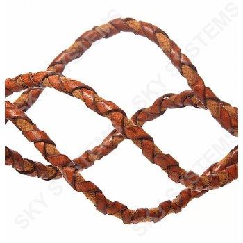 Оранжевый кожаный плетеный шнур с хлопком 5 мм