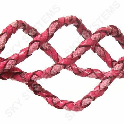 Розовый кожаный плетеный шнур с хлопком 5 мм