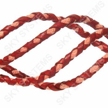 Красный кожаный плетеный шнур с хлопком 5 мм