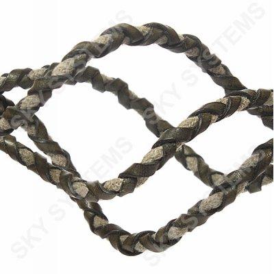Хаки кожаный плетеный шнур с хлопком 5 мм