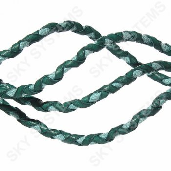 Зеленый кожаный плетеный шнур с хлопком 5 мм