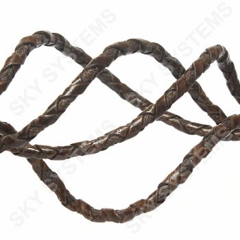Коричневый /2 кожаный плетеный шнур с хлопком 5 мм