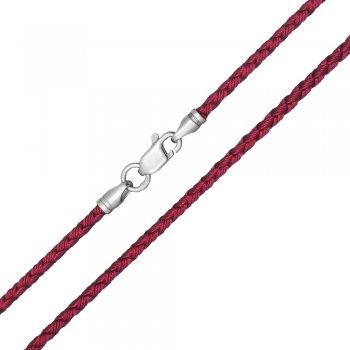 Шелковый шнурок Милан 2016 с серебром | Цвет: Бордовый (3,0 мм)