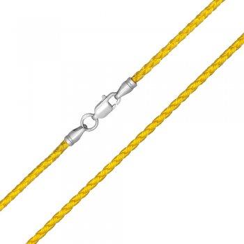 Шелковый шнурок Милан 2016 с серебром | Цвет: Желтый (3,0 мм)
