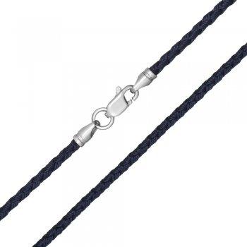 Шелковый шнурок Милан 2016 с серебром | Цвет: Синий (3,0 мм)