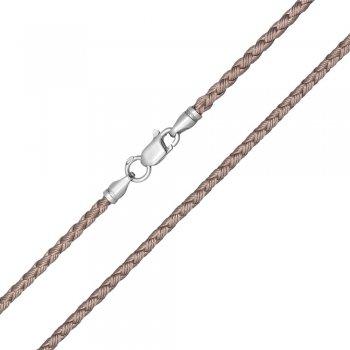 Шелковый шнурок Милан 2016 с серебром | Цвет: Бежевый (3,0 мм)