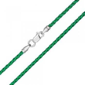 Шелковый шнурок Милан 2016 с серебром | Цвет: Зеленый (3,0 мм)