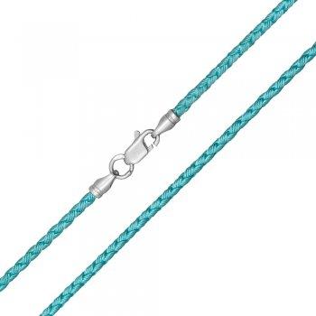 Шелковый шнурок Милан 2016 с серебром | Цвет: Бирюзовый (3,0 мм)