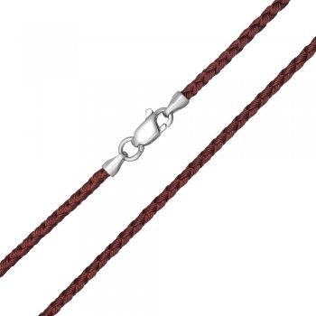 Шелковый шнурок Милан 2016 с серебром | Цвет: Коричневый (3,0 мм)