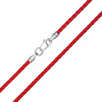 Шелковый шнурок Милан 2016 с серебром | Цвет: Красный (3,0 мм)