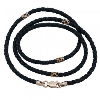Шелковый шнурок Милан 2016 с серебряными позолоченными вставками и замком | Цвет: Черный (2,5 мм)