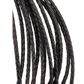 Кожаный плетеный шнур | 4.0 мм Черно-Коричневый 03 | 4-х полосный | UltraSky