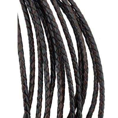 Кожаный плетеный шнур Ultra Sky 4.0/4 мм Черно-Коричневый 03