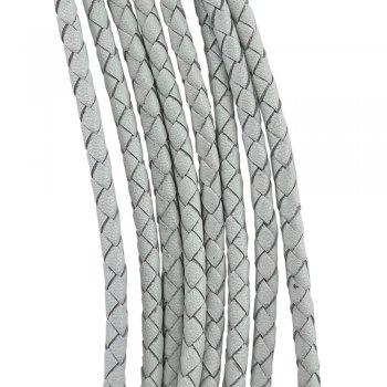 Кожаный плетеный шнур   4.0 мм Белый 10   4-х полосный   UltraSky
