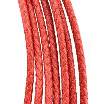 Кожаный плетеный шнур | 5.0 мм Красный | 4-х полосный | UltraSky