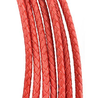 Кожаный плетеный шнур | 5.0 мм Красный | 6-х полосный | UltraSky