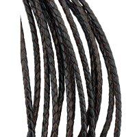 Кожаный плетеный шнур | 4.0 мм Черно-Коричневый 03| 4-х полосный | UltraSky
