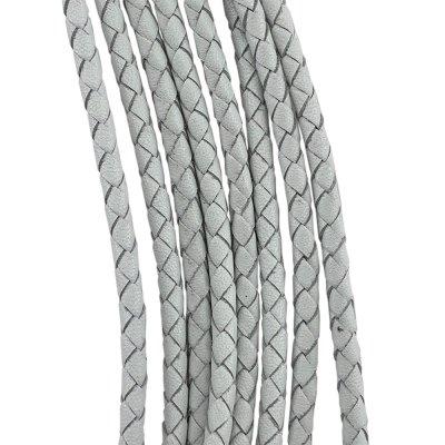 Кожаный плетеный шнур | 4.0 мм Белый | 4-х полосный | UltraSky