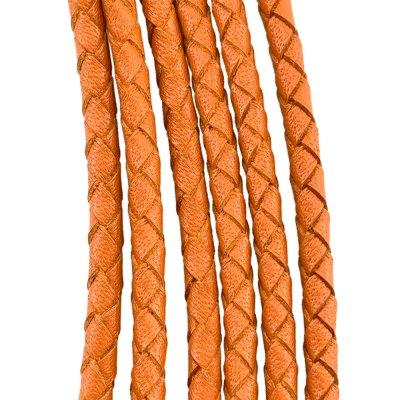 Кожаный плетеный шнур | 4.0 мм Оранжевый | 4-х полосный | UltraSky