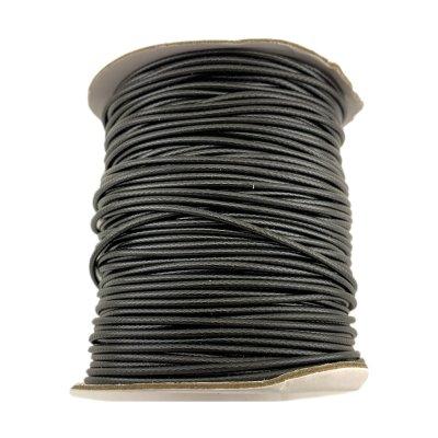 2.0 мм Гладкий синтетический вощеный шнур | Цвет: Черный 01