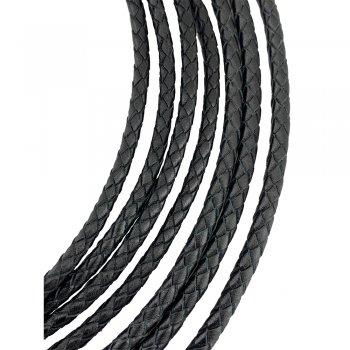 Кожаный плетеный шнур | 4.0 мм Черный 01 | 6-х полосный | UltraSky