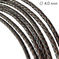 Кожаный плетеный шнур   4.0 мм Черно-коричневый   6-х полосный   UltraSky