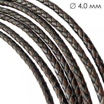 Кожаный плетеный шнур | 4.0 мм Черно-коричневый | 6-х полосный | UltraSky