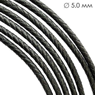 Кожаный плетеный шнур | 5.0 мм Черный | 6-х полосный | UltraSky