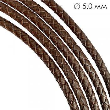 Кожаный плетеный шнур | 5.0 мм Коричневый 02 | 6-х полосный | UltraSky