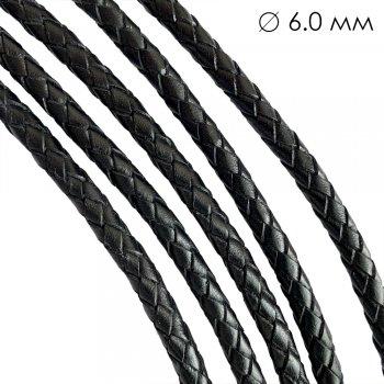 Кожаный плетеный шнур | 6.0 мм Черный | 6-х полосный | UltraSky