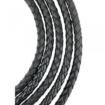 Кожаный плетеный шнур | 7.0 мм Черный | 6-х полосный | UltraSky