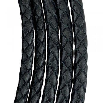 Кожаный плетеный шнур | 9.0 мм Черный | 6-х полосный | UltraSky