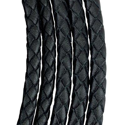 Кожаный плетеный шнур | 8.0 мм Черный | 6-х полосный | UltraSky