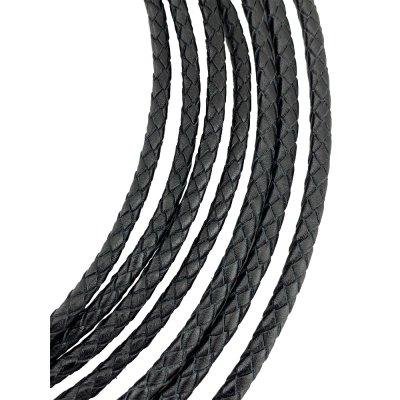 Кожаный плетеный шнур Ultra Sky 4.0/6 мм Черный 01