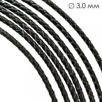 Кожаный плетеный шнур | 3.0 мм Черный 01 | 4-х полосный | UltraSky