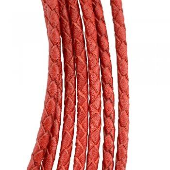 Кожаный плетеный шнур   4.0 мм Красный 08   4-х полосный   UltraSky