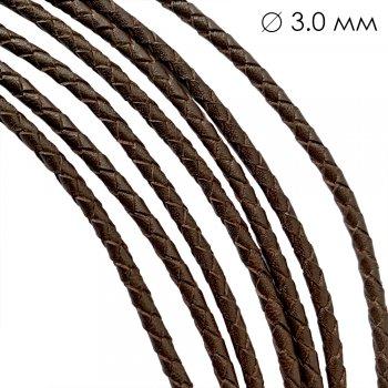 Кожаный плетеный шнур   3.0 мм Коричневый 02   4-х полосный   UltraSky