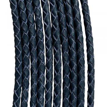 Кожаный плетеный шнур | 3.0 мм Синий 07 | 4-х полосный | UltraSky